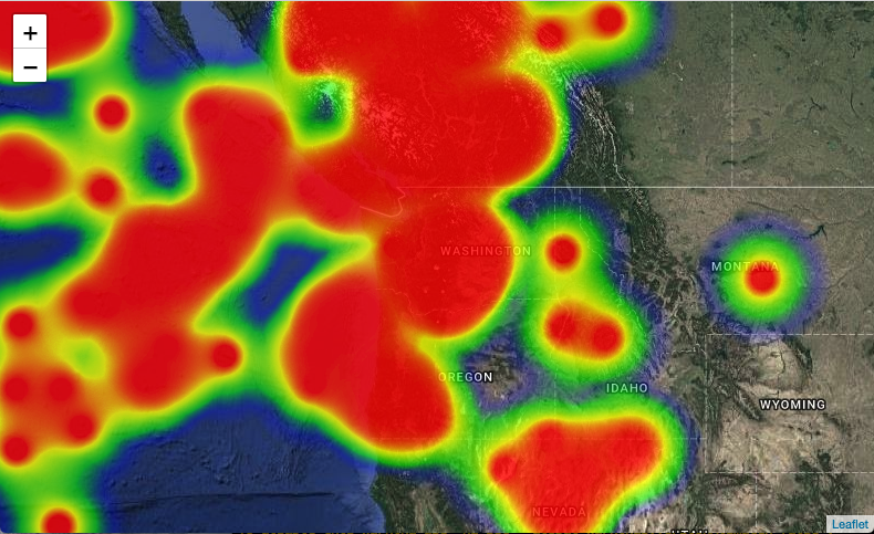 heatmap.js presents data as a heatmap overlay on top of the map